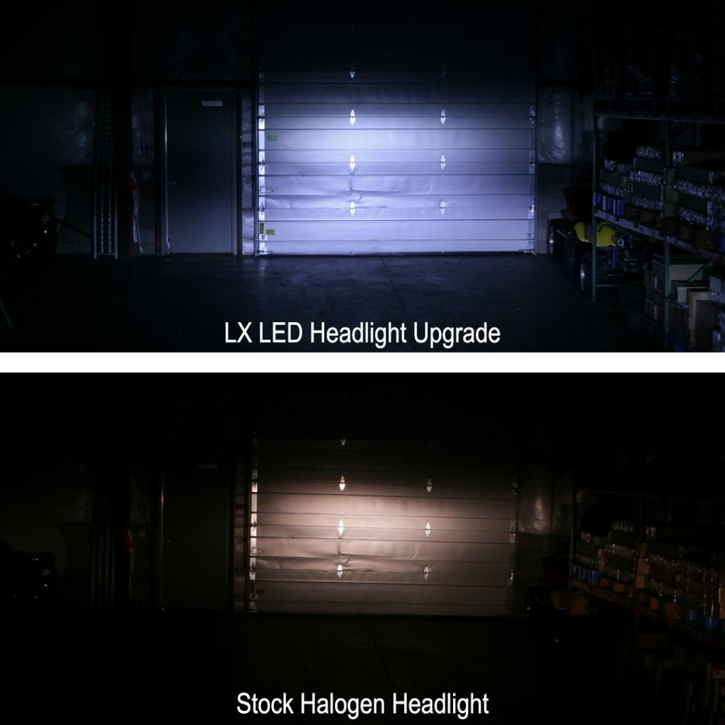 LX LED to Stock Headlight Comparison