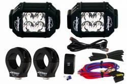 "LX LED  - 3-Watt 2x2 A-Pillar Light UTV Kit with 1.50"" Clamps - Wire Kit Included"