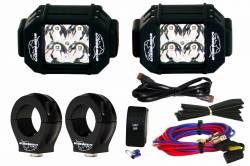"LX LED  - 3-Watt 2x2 A-Pillar Light UTV Kit with 2.0"" Clamps - Wire Kit Included"