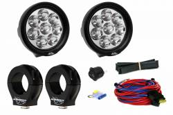 """LX LED  - 3-Watt 4 Inch Round A-Pillar Light UTV Kit with 2.0"""" Clamps - Wire Kit Included"""