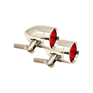 Halogen Driving & Signal Lights - Micro-B Halogen Driving & Signal Lights - Lazer Star Billet Lights - Red Pivot  Mount Chrome LSK3820R Micro-B