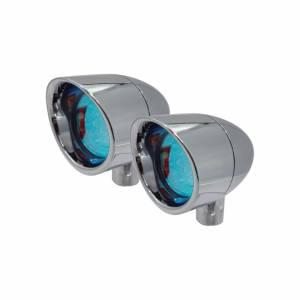 Vizor Lights - LED Signal Lights - Vizor - Red Rigid Mount Chrome V5801R Small Vizor