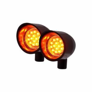 Featured - LED Signal Lights - Vizor - Amber Rigid Mount Black V5201A Small Vizor