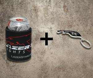Featured - Merchandise - Lazer Star Lights Koozie + Keychain Bottle Opener Kit