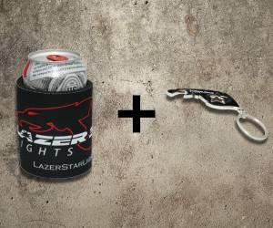 Lazer Star Lights Koozie + Keychain Bottle Opener Kit