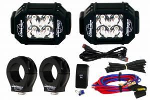 """LED UTV Lighting/Bracket Kits - A-Pillar LED Kits - LX LED  - 3-Watt 2x2 A-Pillar Light UTV Kit with 1.50"""" Clamps - Wire Kit Included"""