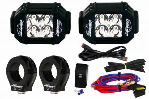 "LX LED  - 3-Watt 2x2 A-Pillar Light UTV Kit with 2.0"" Clamps - Wire Kit Included - Image 1"