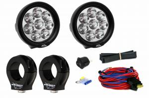 "LED UTV Lighting Kits - Can-Am® Specific LED Light Kits - LX LED  - 3-Watt 4 Inch Round A-Pillar Light UTV Kit with 1.875"" Clamps - Wire Kit Included"